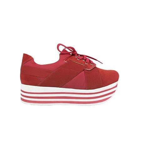 Tênis Feminino SHEPZ Solado Alto Listrado Vermelho