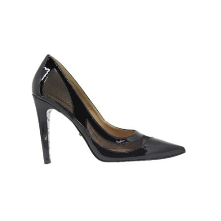 Sapato Feminino Scarpin SHEPZ Verniz Tela e Sola Zebra Preto