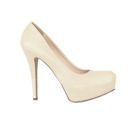 Sapato Feminino Scarpin SHEPZ Meia Pata Frente ArredondadaNude
