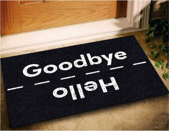 Tapete Capacho Good Bye Hello 60x40 - Preto