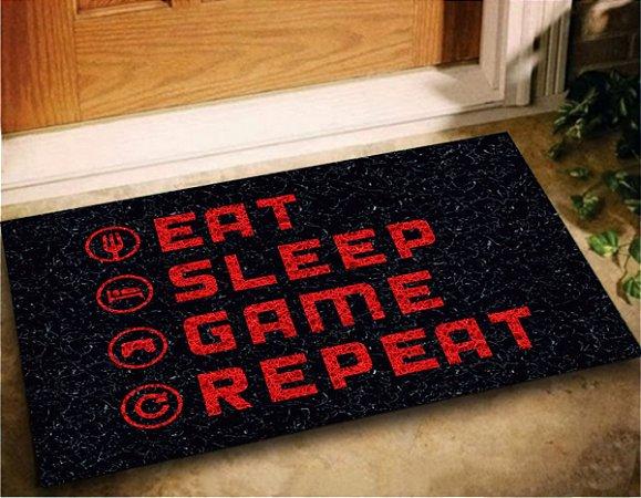 Tapete Capacho Eat Sleep Game Repeat 60x40 Jogos Play Casa