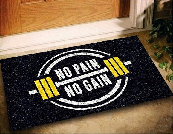 Tapete Capacho Academia No Pain No Gain 60x40 Exercicios Lar