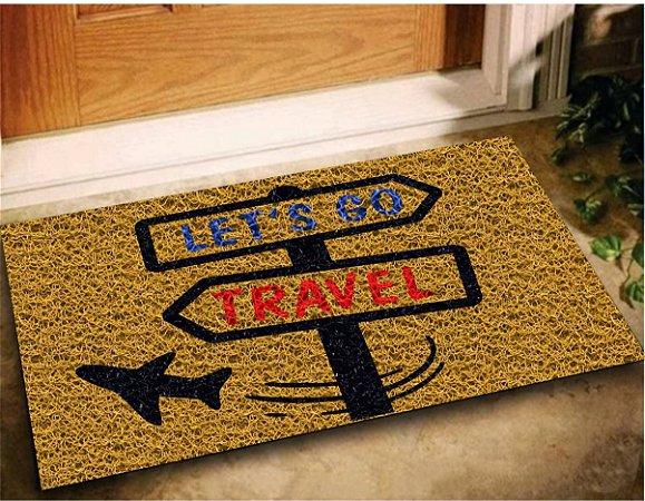 Tapete Capacho Decorativo Lets Go Travel 60x40 Viagem Casa