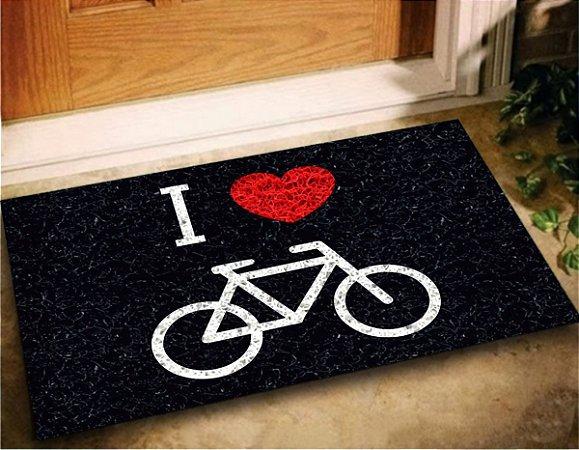 Tapete Capacho Decorativo I Love Bike 60x40 Entrada Porta