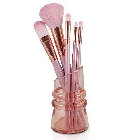 Kit De 5 Pincéis Com Suporte Maquiagem Cabo De Madeira Jacki Design Rosa