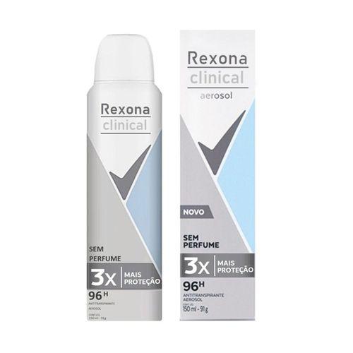 Desodorante Aerosol Rexona Clinical Sem Perfume 150Ml