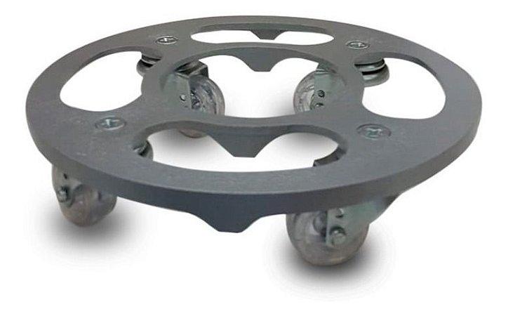 Suporte Para Vaso Redondo 25cm Alumínio Roda Silicone Prata