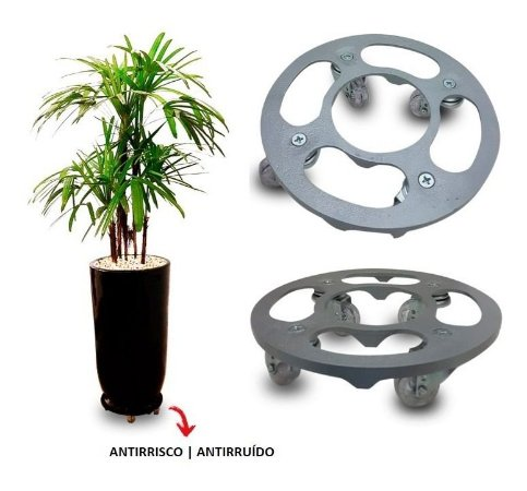 Suporte Para Vaso Redondo 30cm Alumínio Roda Silicone Prata