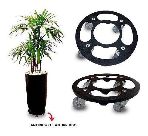 Suporte Para Vaso Redondo 30cm Alumínio Roda Silicone Preto