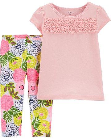 Conjunto 2 peças com Camiseta de Babado e Legging Floral
