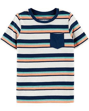 Camiseta listrada com bolso azul marinho e laranja