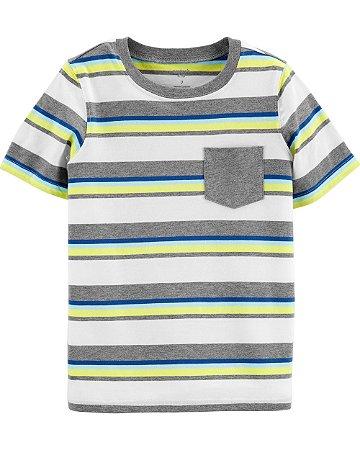 Camiseta Carters listrada com bolso cinza