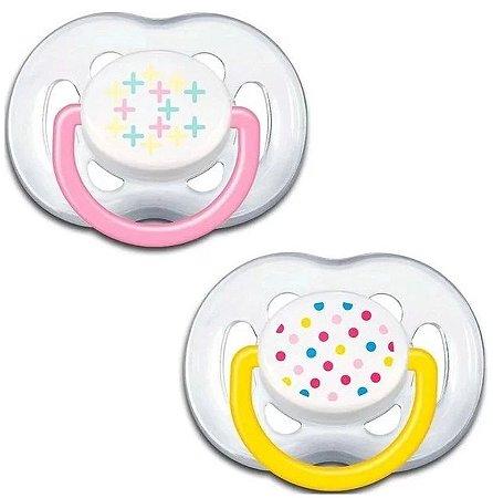 Chupeta Contemporânea - BPA Free 6-18 meses 2 Unidades (Rosa/Amarelo)