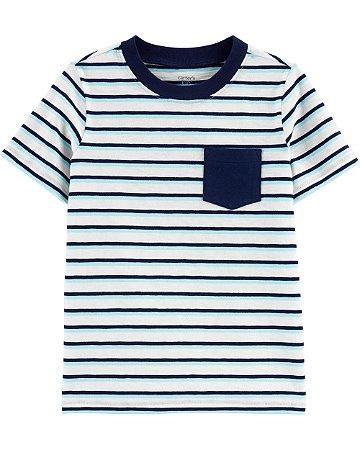 Camiseta listrada com bolso azul marinho