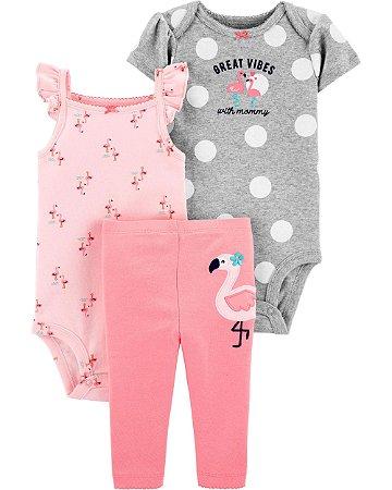 Conjunto 3 peças Flamingo