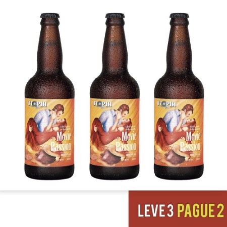 Kit 3 Cervejas Artesanais Utopia APA Movie Passion 500ml - Dia dos Namorados