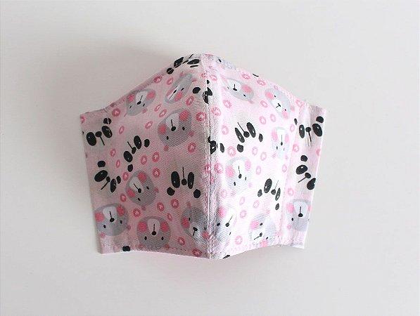 Máscara Infantil - Ursos e Pandas Rosa