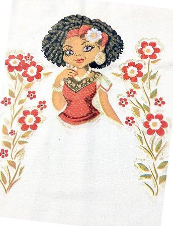 Pano Bainha Boneca Mulata com Glitter para fazer Saia de Crochê 45x72cm 100% Algodão