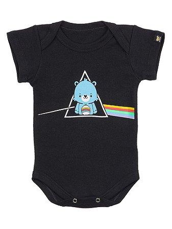 Body Bebê Pink Floyd The Bear Side Preto