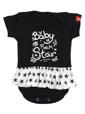 Body Bebê Com Saia Baby Rock Star Preto