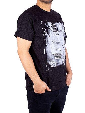 Camiseta Guitarra Fender Preto Jaguar.