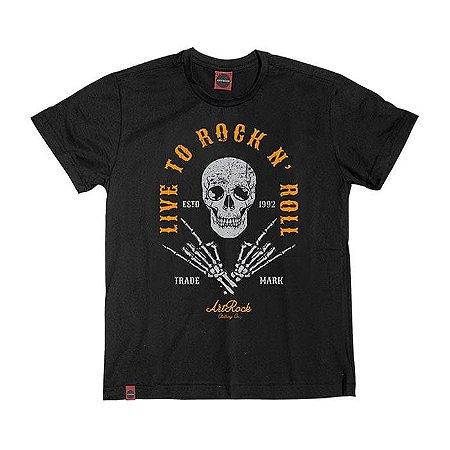 Camiseta Plus Size Rock Live To Preta.