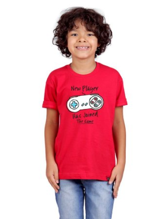 Camiseta Infantil Novo Jogador Vermelha