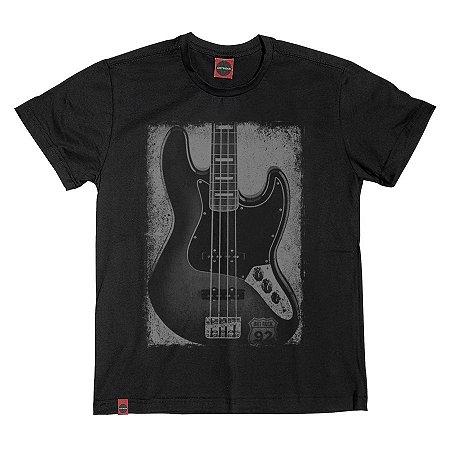 Camiseta Juvenil Instrumento Baixo Preta.