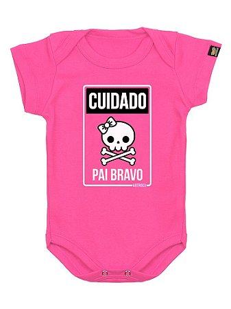 Body Bebê Pai Bravo Rosa