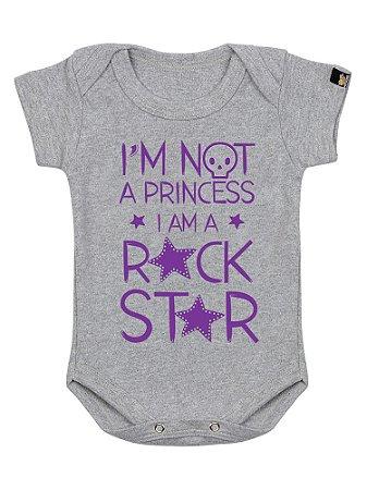 Body Bebê Não Sou Princesa Cinza Mescla