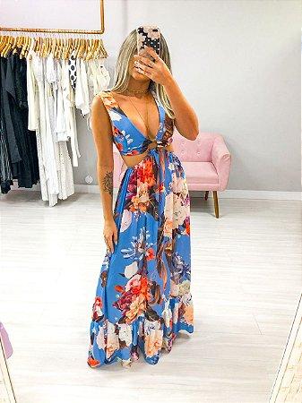 Vestido Fivela Estampado Floral