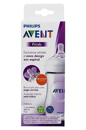 Mamadeira Pétala Transparente - Philips Avent 260ml