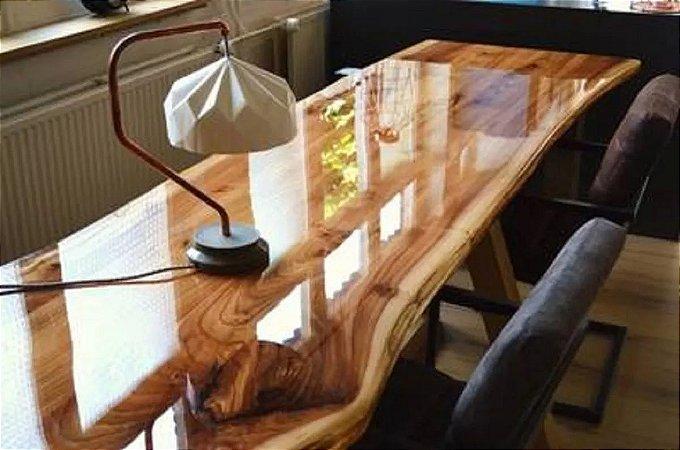 Resina epóxi cristal rígida para vitrificação de mesas, madeiras e piso 3D 1 Kg - A+B