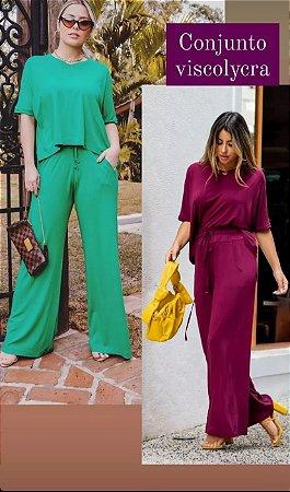 Conjunto de blusa ampla e pantalona de malha viscolycra, na cor verde/ tamanho único veste 44