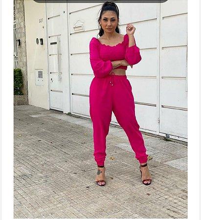 Calça Jogger Rosa  pink de viscose com bolso