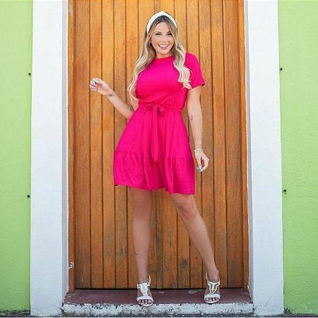 Vestido manga princesa com cinto do mesmo tecido. Tamanho único veste 42/44. Tecido malha viscolycra. Na cor Pink