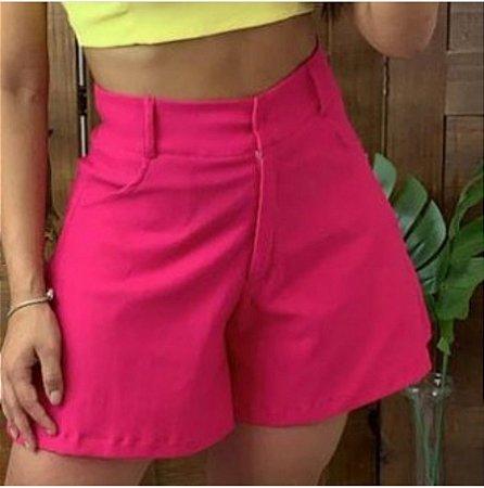 Shorts godê com bolso, tecido bengaline com elastano. Pink
