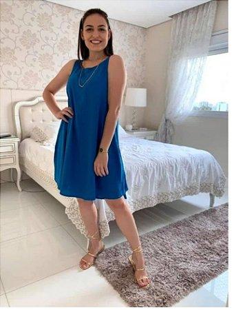 Vestido trapézio com bolso lateral em viscose. Azul petróleo