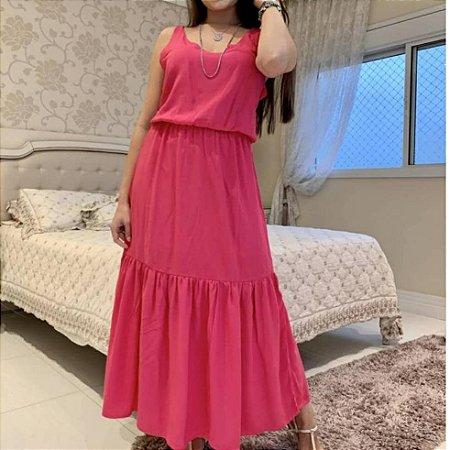 Vestido longo com alça em viscose e elástico. Na cor Pink