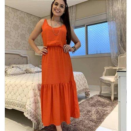 Vestido longo com alça em viscose e elástico. Na cor laranja