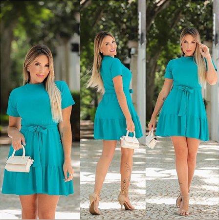 Vestido camadas em malha com cinto. Na cor azul tiffany