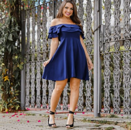 Vestido ciganinha em viscolinho. Azul marinho