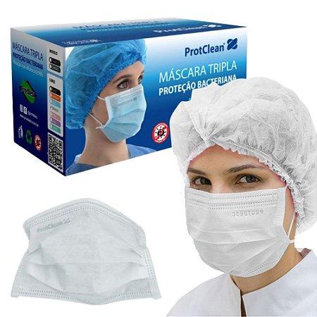 Máscara Descartável Tripla c/ Elástico Branca ProtClean 50 unidades