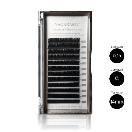 Cílios para Alongamento Nagaraku Ellipse Tesourinha 0.15 C 14mm