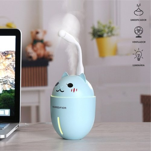 Umidificador de Ar Gato 3 em 1 Led Ventilador Luminária USB