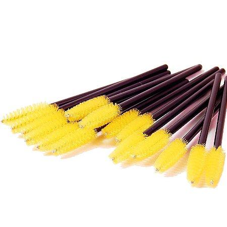 Escovinha para Cílios Descartável Amarela 50 unid.