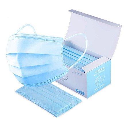 Máscara Descartável Tripla c/ Elástico Azul c/50 unidades
