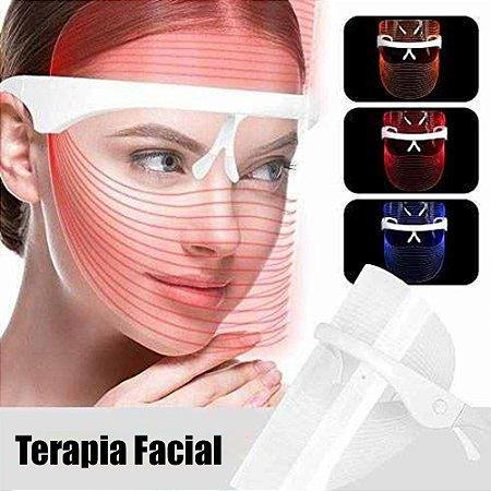 Máscara Led 3 Cores Estética Terapia Facial