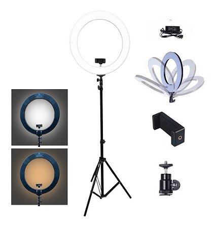 """Luminária Ring Light Pro 336 Leds 14"""" MLG-049A Tomate"""