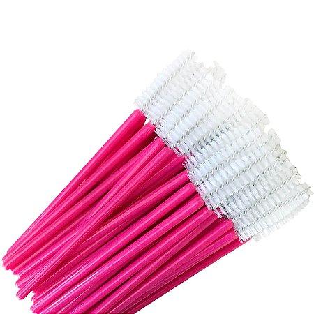 Escovinha para Cílios Descartável Haste Pink 50 unid.